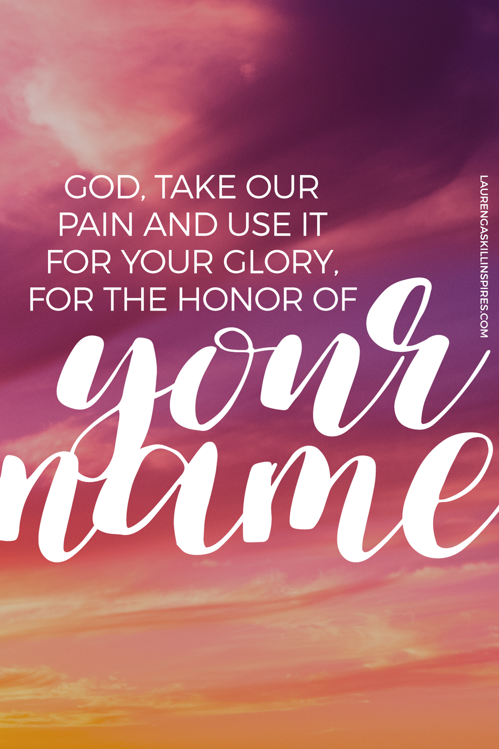 God can take our pain and use it for His glory! Nothing is wasted!
