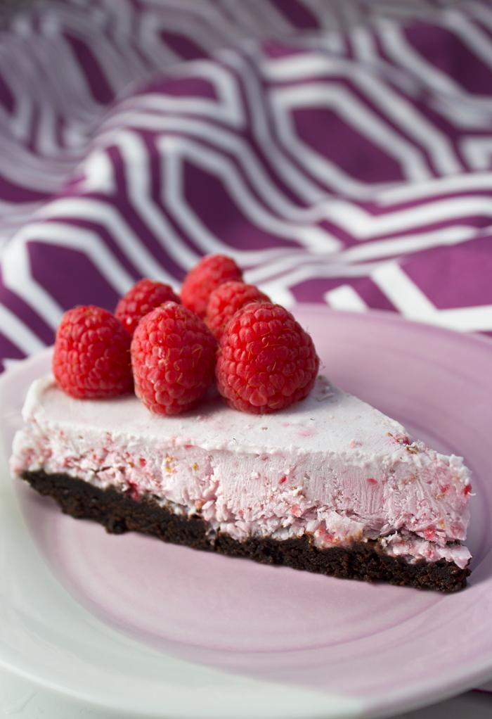 Raspberry Ice Cream Cake with Brownie Crust {gluten free}