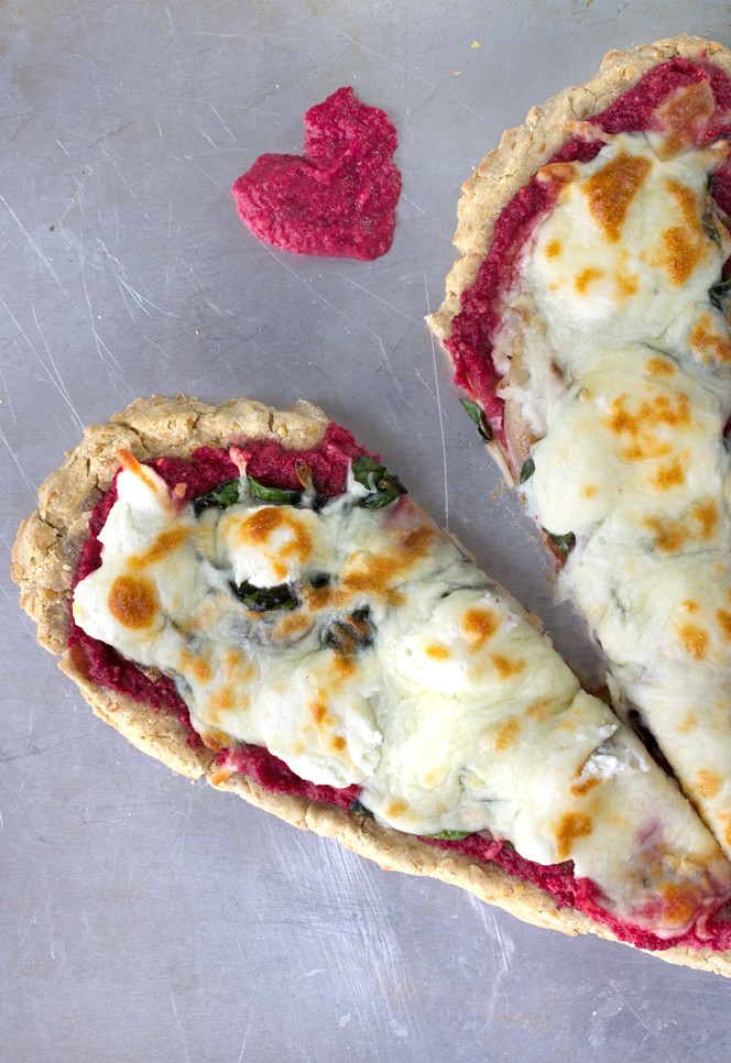 Heart Pizza with Beet Pesto, Spinach + Goat Cheese